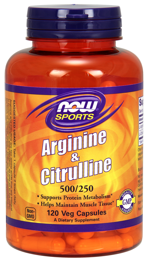 Arginine 500 mg / Citrulline 250 mg NOW (120 cap)