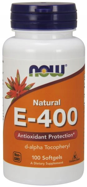 Vitamin E-400 IU D-Alpha Tocopheryl Acetate NOW (100 softgels)