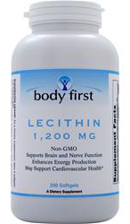 Lecithin (1200 mg) - Non-GMO Body First (200 гелевых капсул)