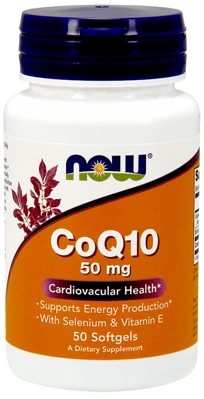 CoQ10 50 mg with Selenium & Vitamin E NOW (50 Softgels)