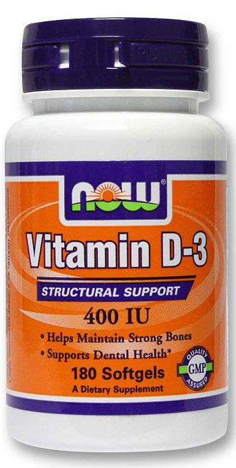 Vitamin D-3 400 IU NOW (180 гелевых капсул)