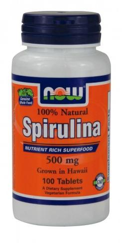 Spirulina 500 mg NOW (100 таб)