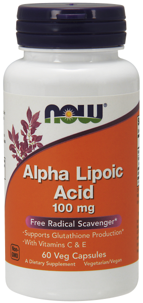 Alpha Lipoic Acid 100 mg NOW (60 вегетарианских капсул)