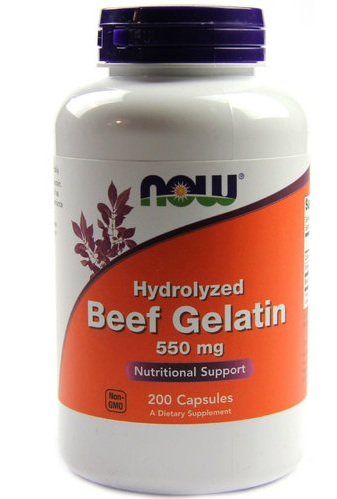 Beef Gelatin Hydrolyzed 550 mg NOW (200 кап)
