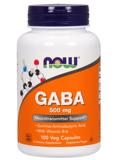 GABA 500 mg + B-6 2 mg NOW (100 Capsules)