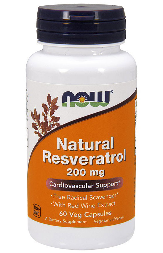 Natural Resveratrol 200 mg NOW (60 вегетарианских капсул)