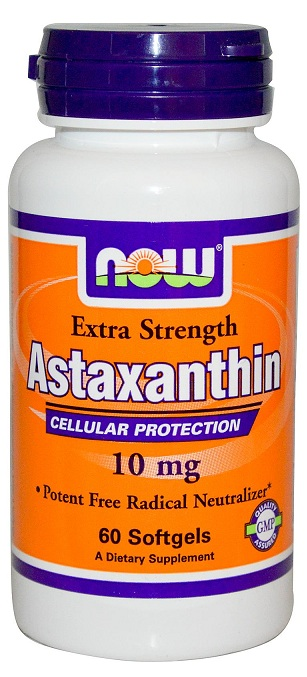 Astaxanthin Extra Strength 10 mg NOW (60 гель кап)