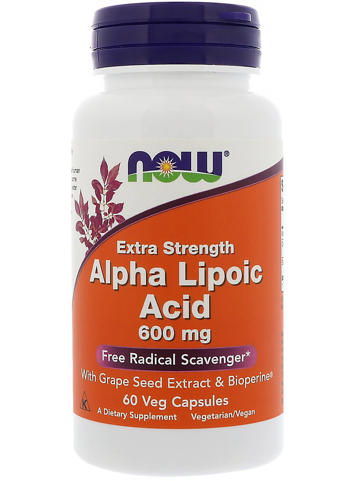 Alpha Lipoic Acid 600 mg NOW (60 вегетарианских капсул)