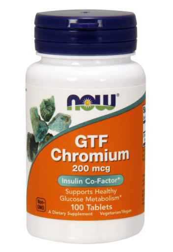 GTF Chromium 200 mcg NOW (100 Tablets)