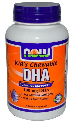 DHA 100 mg Kid's Chewable NOW (60 Softgels)