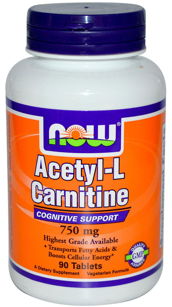 Acetyl-L-Carnitine 750 mg NOW (90 таб)