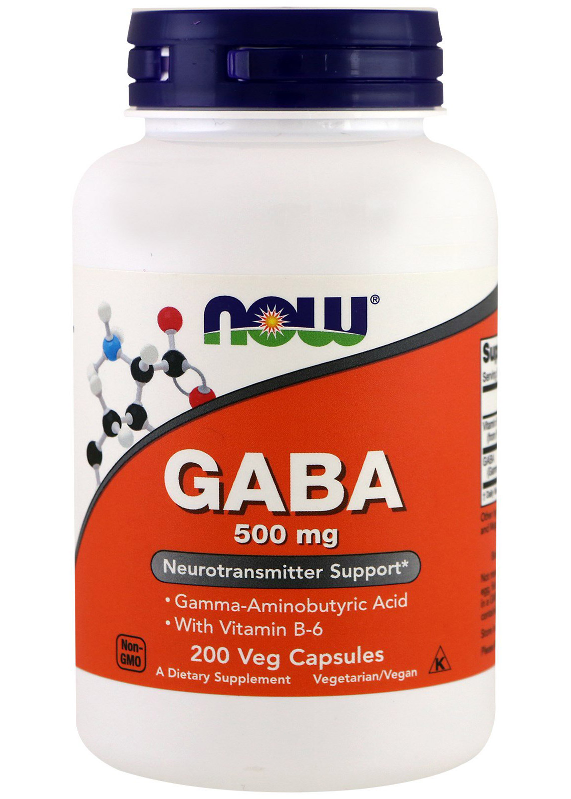 GABA 500 mg + B-6 2 mg NOW  (200 капсул)