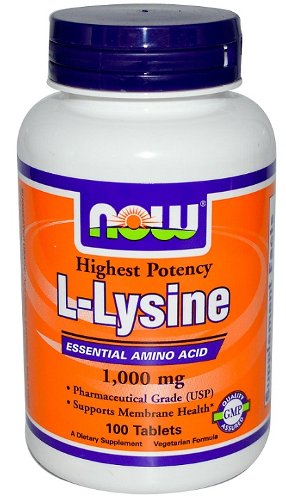 L-Lysine 1,000 mg Double Strength NOW (100 Tablets)