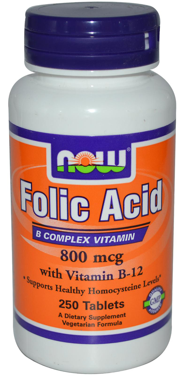 Folic Acid (B-9) 800 mcg + B-12 25 mcg Vegetarian NOW (250 таб)