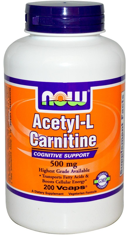 Acetyl-L Carnitine 500 mg NOW (200 вег кап)