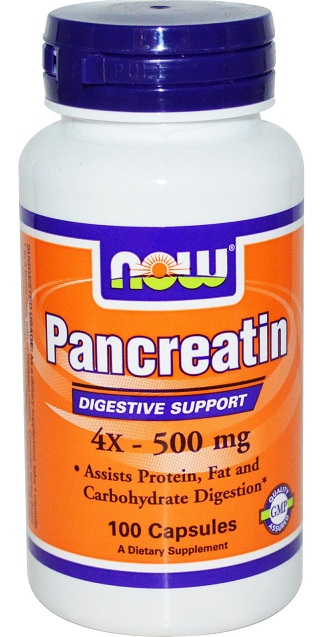 Pancreatin 4X 500 mg NOW (100 капс)(годен до 05/2017)