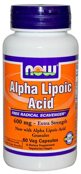Alpha Lipoic Acid 600 mg NOW (60 Vcaps)