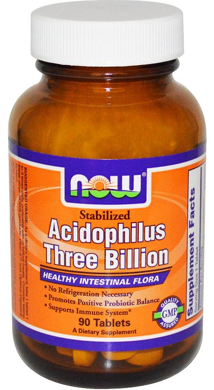 Acidophilus Stabilized Three Billion NOW (90 Tablets)