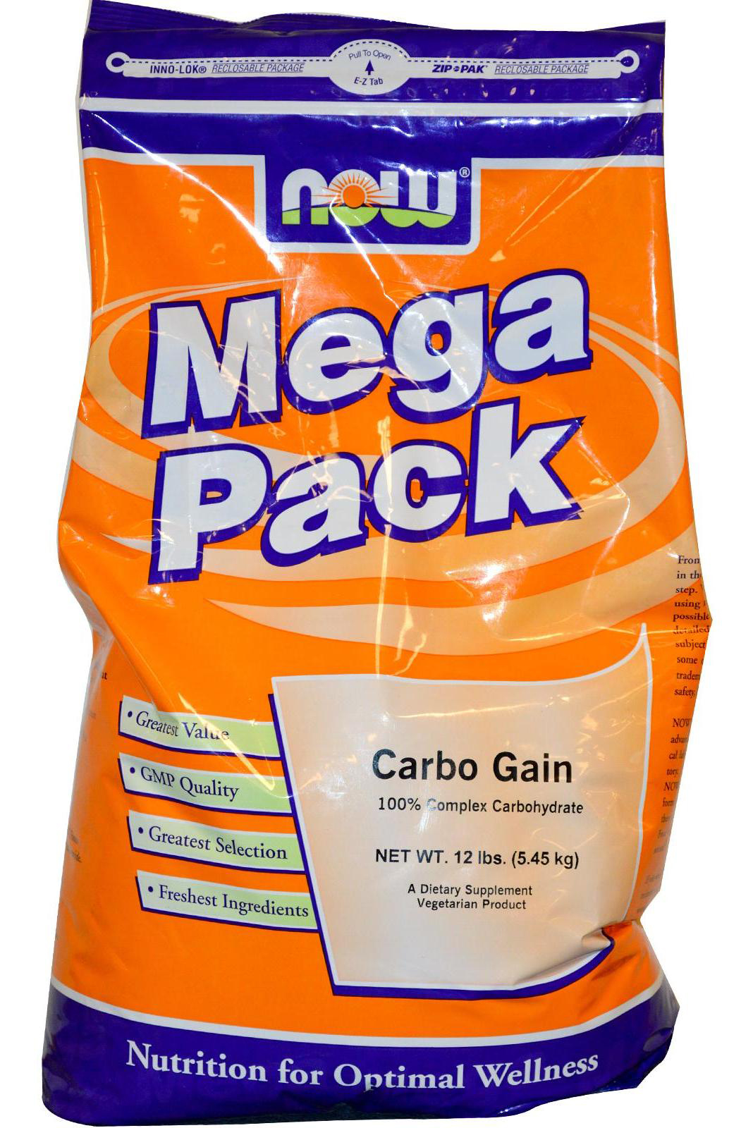 Carbo Gain 100% Complex Carbohydrate NOW (5450 гр)