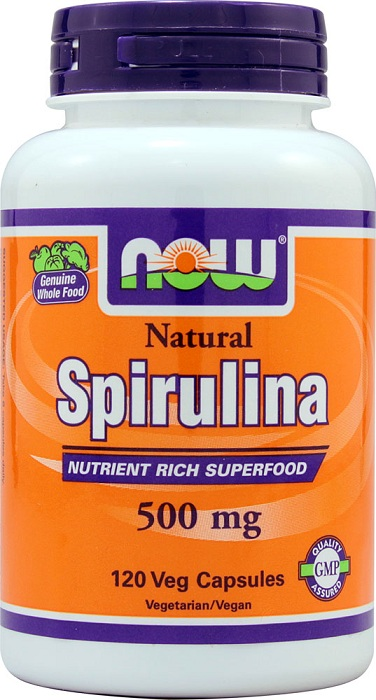 Natural Spirulina 500 mg NOW (120 вег капс)