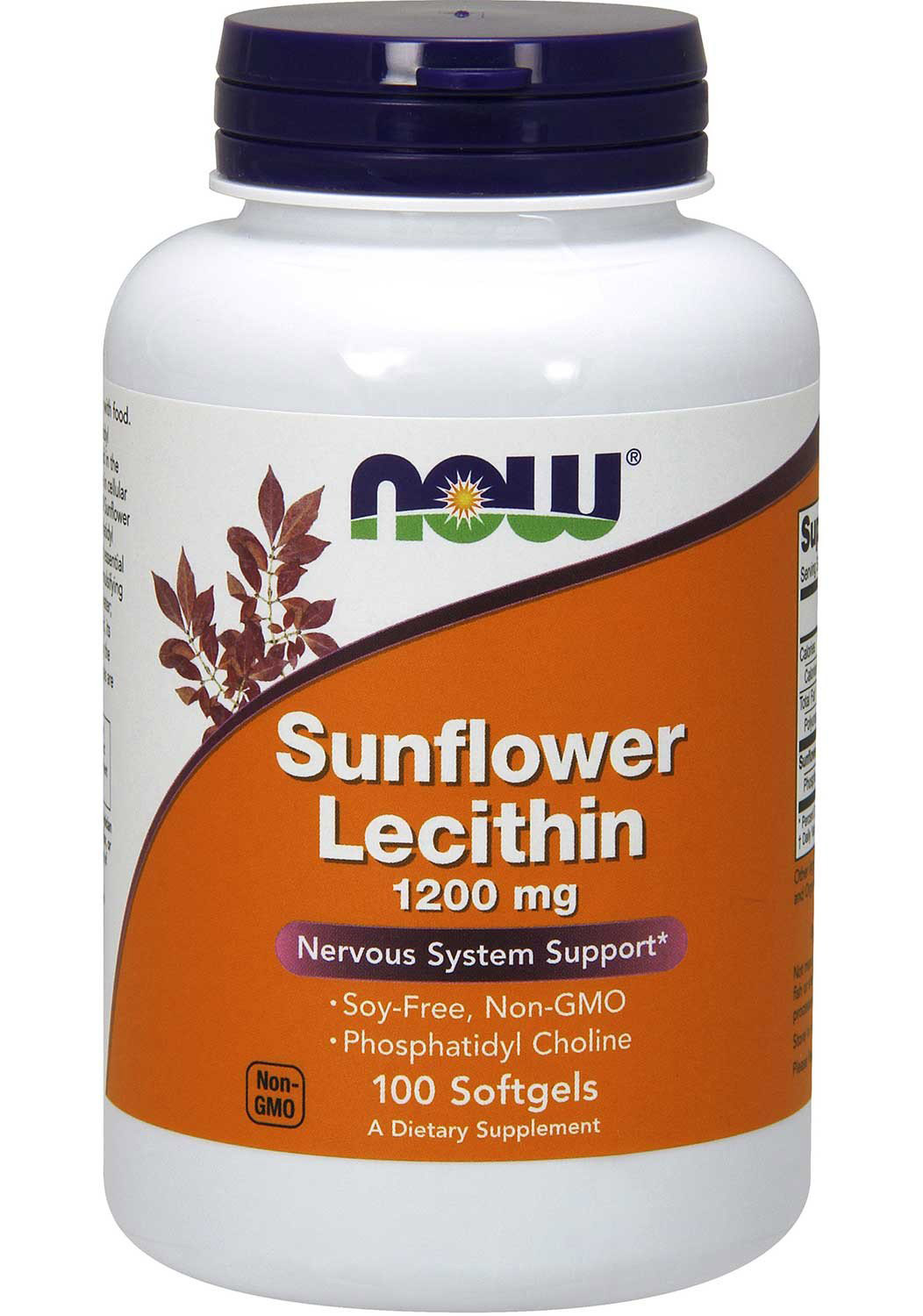Sunflower Lecithin 1200 mg Soy-Free Non-GMO (100 гелевых капсул)