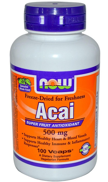 Acai 500 mg NOW (100 Veg Capsules)