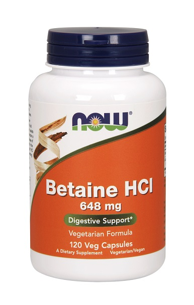 Betaine HCl 648 mg NOW (120 кап)