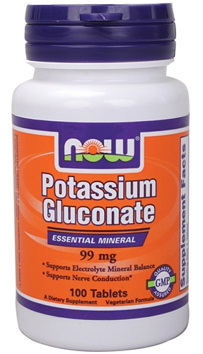 Potassium Gluconate 99 mg Vegetarian NOW (100 таб)