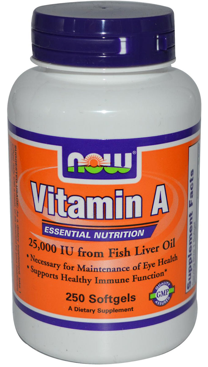 Vitamin A (Fish Liver Oil) 25000 NOW (250 кап)