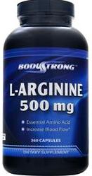L-Arginine 500 mg BodyStrong (360 gel caps)