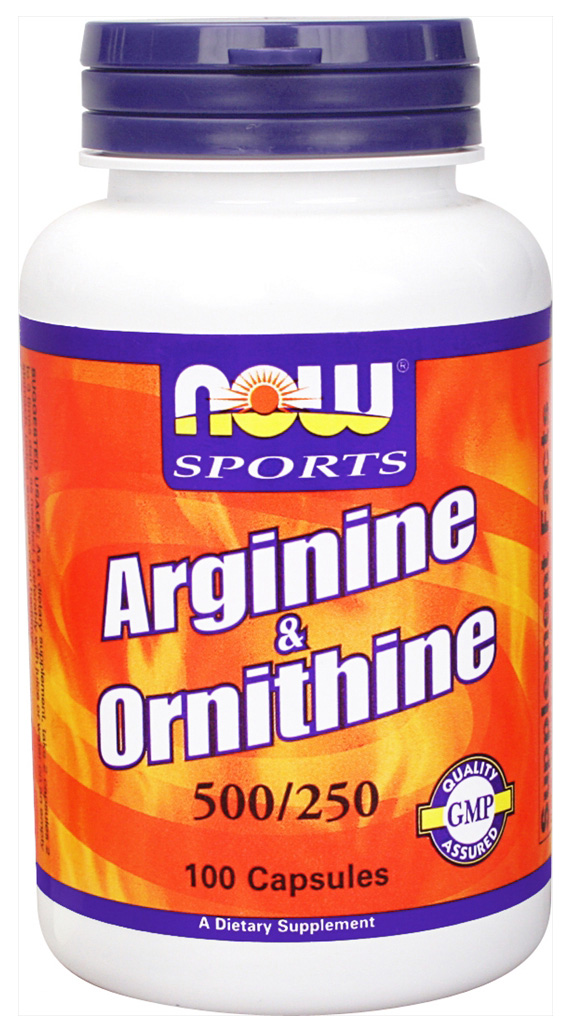 Arginine 500 mg / Ornithine 250 mg NOW (100 кап)