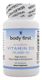 Vitamin D3 High Potency (10000IU) Body First (60 гель кап)