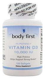 Vitamin D3 High Potency (10000IU) Body First (120 гель кап)