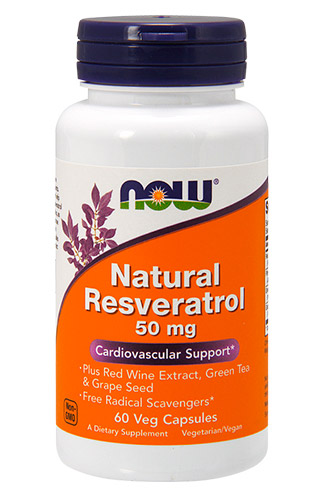 Natural Resveratrol 50 мг NOW (60 вегетарианских капсул)
