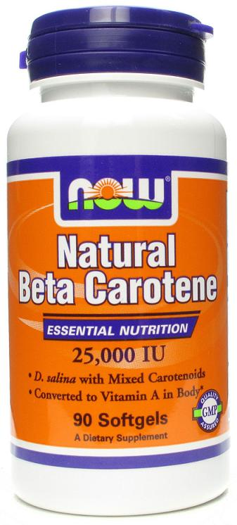 Beta Carotene (Natural) NOW (90 гелевых капсул)