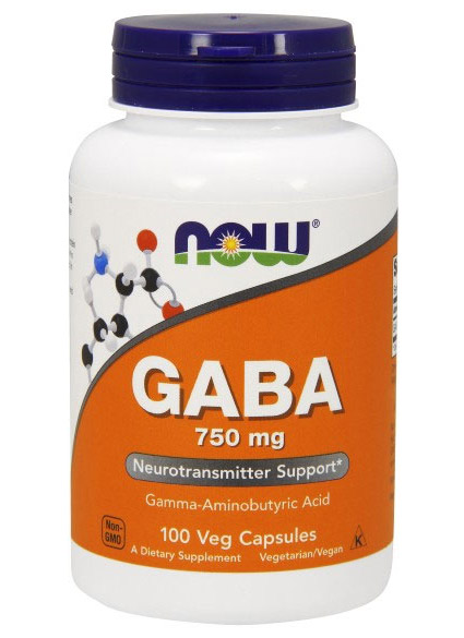 GABA 750 mg NOW (100 Vcaps)