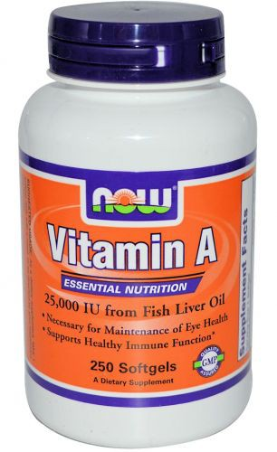 Vitamin A 25000 (Fish Liver Oil) NOW (250 кап)