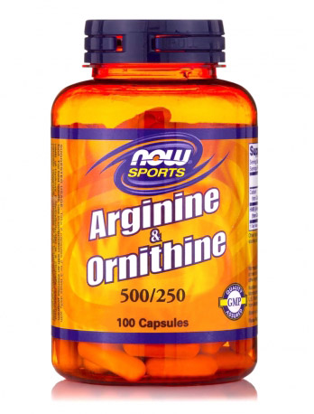 Arginine 500 mg/Ornithine 250 mg NOW (100 кап)(годен до 11/2018)