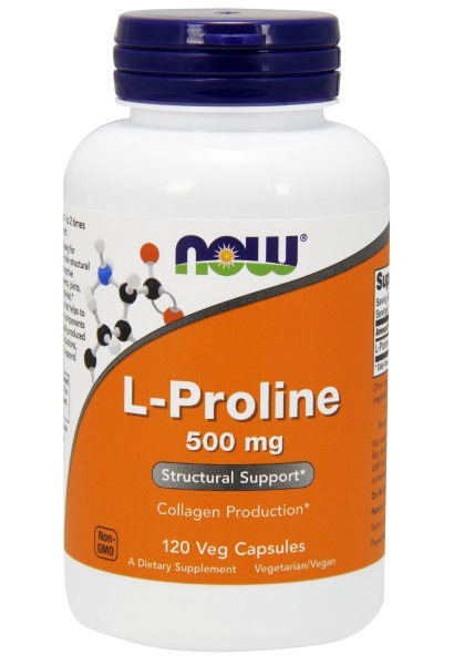 L-Proline 500 mg NOW (120 Vcaps)