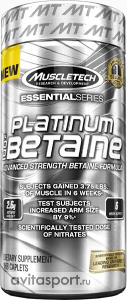 100% Platinum Betaine Muscle Tech (168 tab)