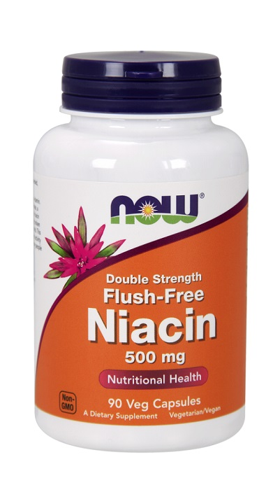 Niacin Double Strength Flush-Free 500 mg NOW (90 Vcaps)(EXP 12/2