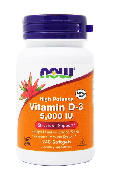 Vitamin D-3 5000 IU NOW (240 softgels)