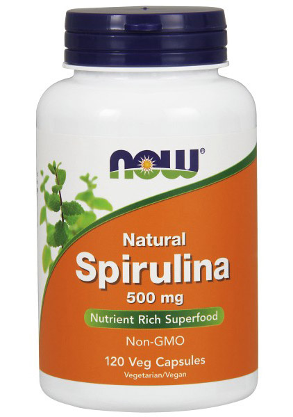 Spirulina Natural 500 mg NOW (120 вег кап)