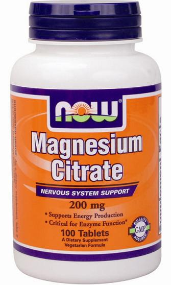 Magnesium Citrate 200 mg NOW (100 таб)