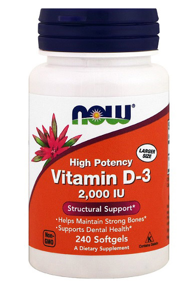 Vitamin D-3 2000 IU NOW (240 гелевых капсул)