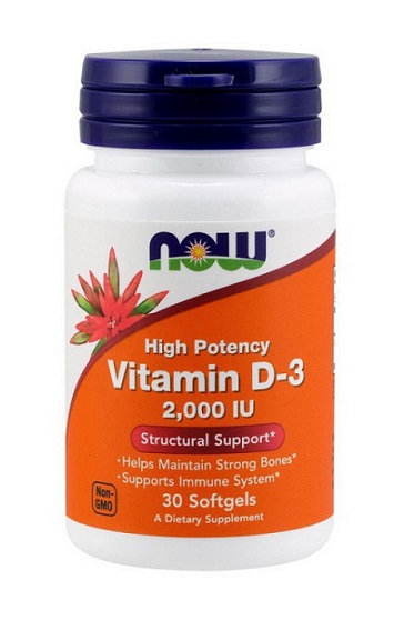 Vitamin D-3 2000 IU NOW (30 softgels)