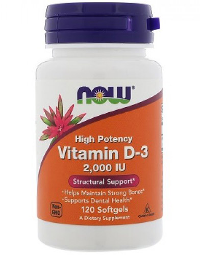 Vitamin D-3 2000 IU NOW (120 гелевых капсул)