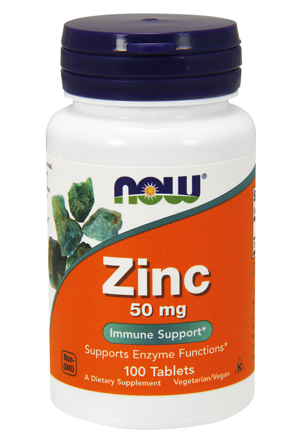 Zinc Gluconate 50 mg NOW (100 таб)